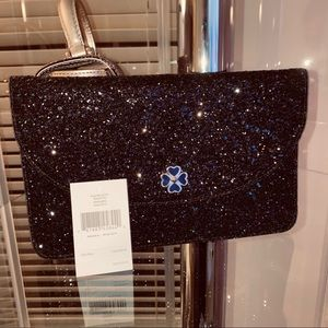 Kate Spade Black Odette, Large Flap Glitter Clutch